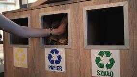 Сортировать отброс сбрасывая бумагу в особенный контейнер сток-видео
