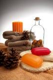 сосенка конусов мылит полотенца стоковые изображения rf
