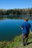 сосенка озера рыболовства Стоковое фото RF