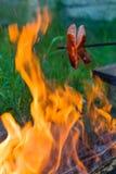 Сосиска жарки над огнем Стоковые Фотографии RF