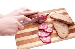 сосиска сандвича подготовок Стоковые Изображения RF