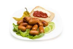 Сосиска с хлебом Стоковое Изображение