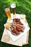 Сосиска, хлеб и пиво Стоковые Фото