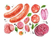 Сосиски акварели и салями, специя, томаты Стоковые Фотографии RF