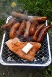 Сосиски зажаренные с рыбами и сыром Стоковое Изображение