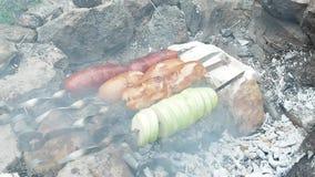 Сосиски и лук impaled на brochettes в камине Под открытым небом приготовление на гриле в саде Сосиски подготавливая на smoulderin видеоматериал