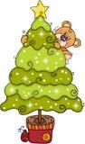 Сосна рождества счастливой плюшевого мишки взбираясь иллюстрация штока