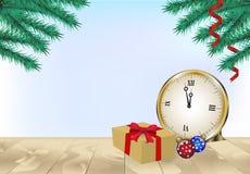 Сосна с подарочной коробкой и украшение рождества на деревянной предпосылке иллюстрация штока