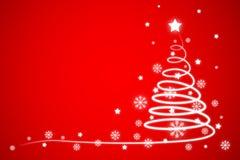 Сосна с предпосылкой ледяных кристаллов и звезд в концепции праздника рождества Стоковое Фото