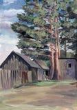 Сосны деревни иллюстрация вектора