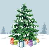 Сосны и подарочные коробки акварели для рождества и С Новым Годом! иллюстрация штока