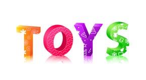 составленные кубики помечают буквами слово игрушек Стоковое Изображение