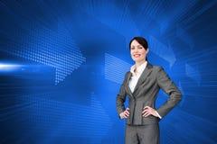 Составное изображение агента обслуживания клиента с шлемофоном дальше Стоковая Фотография RF