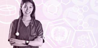 Составное изображение азиатской медсестры с скрещиванием стетоскопа подготовляет Стоковые Фото