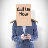 Составное изображение анонимного бизнесмена используя телефон Стоковые Изображения RF