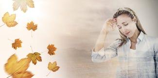 Составное изображение лба женщины осадки касающего Стоковое Изображение