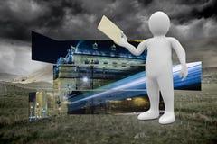Составное изображение белого характера держа конверт Стоковые Изображения
