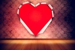 Составное изображение белой бумаги отрезало в форме сердца Стоковая Фотография