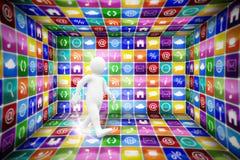 Составное изображение белый идти характера Стоковое Изображение RF