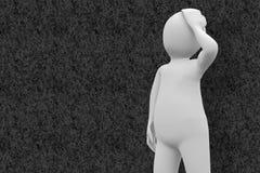 Составное изображение белый думать характера Стоковые Изображения