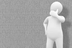 Составное изображение белый думать характера Стоковое Изображение RF