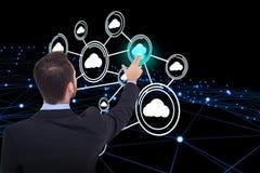 Составное изображение бизнесмена в костюме указывая эти пальцы 3d Стоковое Фото
