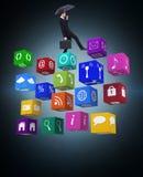 Составное изображение бизнесмена держа портфель под зонтиком Стоковые Фотографии RF
