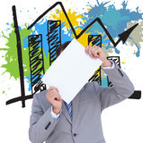 Составное изображение бизнесмена держа пустой знак перед его головой Стоковое Изображение