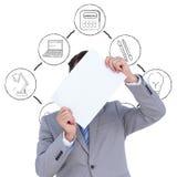 Составное изображение бизнесмена держа пустой знак перед его головой Стоковые Фото