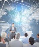 Составное изображение бизнесмена делая речь во время встречи Стоковое фото RF