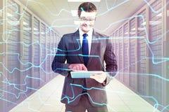 Составное изображение бизнесмена используя его ПК таблетки Стоковые Фотографии RF