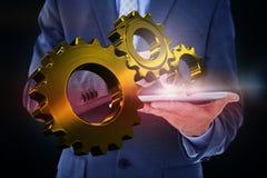 Составное изображение бизнесмена используя ПК таблетки Стоковое Изображение RF