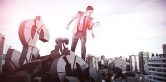 Составное изображение бизнесмена крича через мегафон Стоковые Изображения RF
