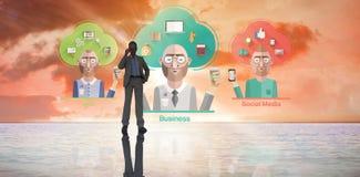 Составное изображение бизнесмена на телефоне Стоковая Фотография