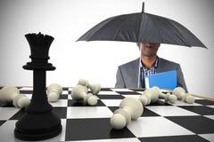 Составное изображение бизнесмена стоя под зонтиком Стоковое Изображение RF