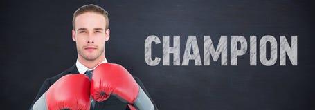 Составное изображение бизнесмена с перчатками бокса Стоковая Фотография RF