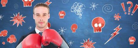 Составное изображение бизнесмена с перчатками бокса Стоковое Фото