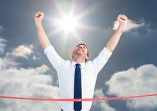 Составное изображение бизнесмена wining гонка Стоковое фото RF