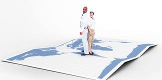 Составное изображение бизнесменов стоя спина к спине Стоковое Изображение RF