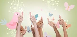 Составное изображение больших пальцев руки поднятых и рук вверх Стоковые Изображения