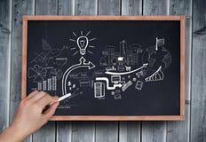 Составное изображение бредовой мысли чертежа руки с мелом Стоковые Фото