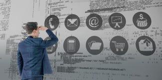 Составное изображение взгляда носки бизнесмена смотря прочь Стоковые Изображения RF