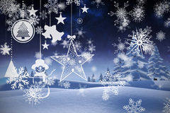 Составное изображение висеть красные украшения рождества Стоковое Фото