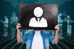 Составное изображение вскользь человека показывая доску Стоковые Изображения RF