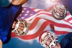 Составное изображение груды американского футбола Стоковые Фото