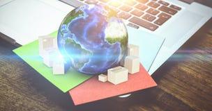 Составное изображение глобуса и картонных коробок Стоковые Изображения RF