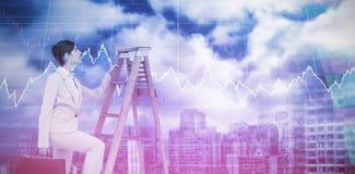 Составное изображение лестницы карьеры коммерсантки взбираясь с портфелем стоковое фото rf
