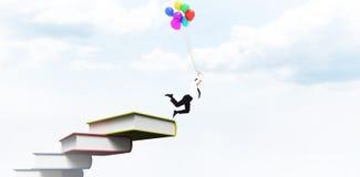 Составное изображение летания бизнесмена с воздушными шарами Стоковое Фото