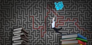 Составное изображение летания бизнесмена с воздушными шарами Стоковое фото RF