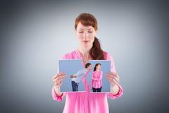 Составное изображение женщины останавливая человека от целовать Стоковое фото RF
